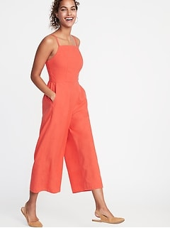 77e25b3331d6 Square-Neck Linen-Blend Jumpsuit for Women