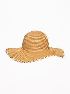 03893a49 Fringed Straw Sun Hat For Toddler Girls