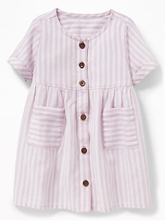 47d64f7ec643 Striped Button-Front Pocket Dress for Baby