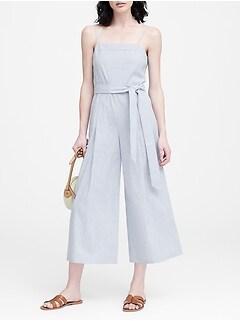 3c0fdf33b6ed Linen-Cotton Cropped Jumpsuit