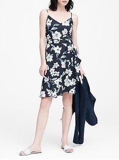 88ca2413ecd0 Linen-Cotton Ruffle Wrap Dress