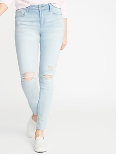 d5a5bcd78c6 Mid-Rise Rockstar Distressed Super Skinny Jeans for Women