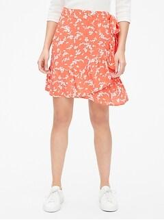 084e2fc321e Print Ruffle Wrap Mini Skirt