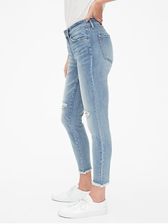 e3f9704c96e Mid Rise Curvy True Skinny Ankle Jeans with Distressed Detail