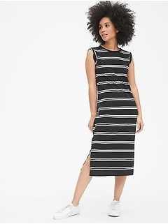 d231a1fd2a79 Roll-Cuff Stripe Midi T-Shirt Dress