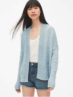 49a94380b1 Pointelle Open-Front Cardigan Sweater