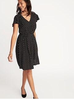 Waist-Defined V-Neck Dress for Women 4133002fd