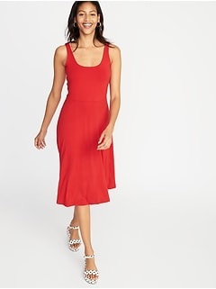 0115af1850e8 Sleeveless Fit & Flare Jersey Midi Dress for Women
