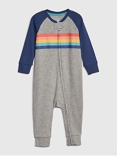 Baby Chest-Stripe Raglan One-Piece