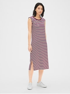 e528d23ab86 Roll-Cuff Stripe Midi T-Shirt Dress