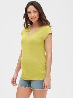 daf2cd44fae24 Maternity Soft Slub Jersey Split-Neck T-Shirt