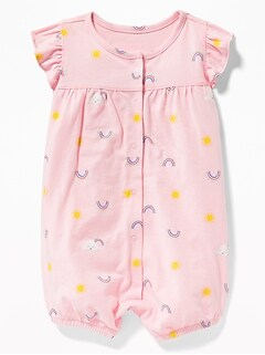 d66f7954e Printed Ruffle-Sleeve Snap-Front One-Piece for Baby
