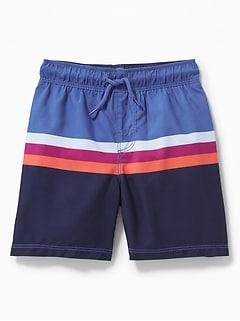 20261ceeb5f14 Functional Drawstring Multi-Stripe Swim Trunks for Toddler Boys