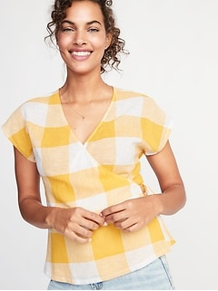 2e18acb94a76ad Wrap-Front Side-Tie Linen-Blend Top for Women