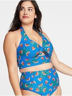 ad6031b388e Tie-Front Plus-Size Long-Line Halter Swim Top