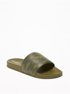 e9da2c08a04891 Faux-Leather Pool Slide Sandals for Boys