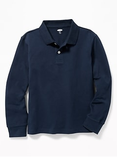 Oldnavy Uniform Built-In Flex Long-Sleeve Pique Polo for Boys Hot Deal