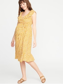 61b5e8d81cb11 Maternity Ruffled Tie-Belt Waist-Defined Dress