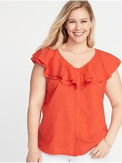 e48daa6f770 Ruffled V-Neck No-Peek Button-Front Plus-Size Blouse