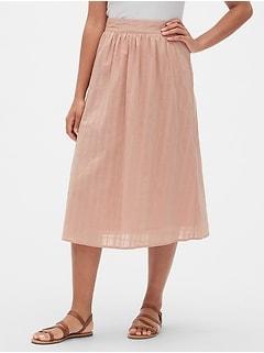 79cd49ea4d Dobby Pattern Midi Skirt