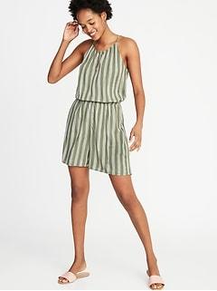 0d8eea337 Waist-Defined Striped Keyhole-Front Romper for Women