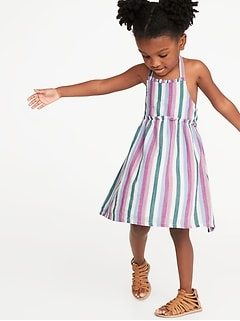 fda63480f Striped Ruffle-Trim Halter Midi Dress for Toddler Girls