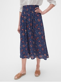 49bbe5ec2179c Smocked Waist Midi Skirt