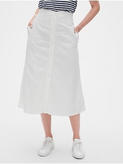 6642e0099 Button-Front Midi Skirt in TENCEL™