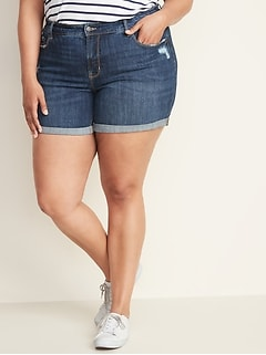 5e7540d701e High-Rise Secret-Slim Pockets Plus-Size Distressed Denim Shorts - 5-