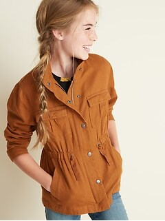 09b7a592a1 Linen-Blend Snap-Front Utility Jacket for Girls