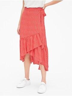 6da01576c Ruffle Wrap Midi Skirt