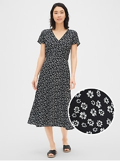 d8977a7731a Fit and Flare V-Neck Midi Dress