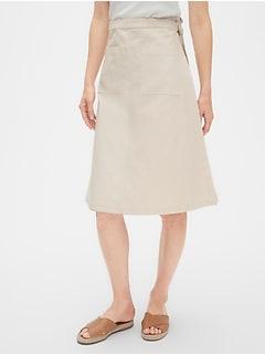 4e9c0fa6c9 Patch Pocket Wrap Skirt in Cotton-Linen