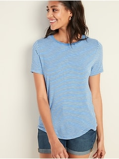 9447c87c2 Luxe Striped Curved-Hem Tee for Women