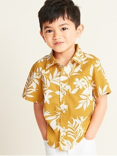 61c1cdd05 Built-In Flex Tropical-Print Shirt for Toddler Boys