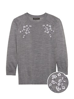 Merino-Blend Embroidered Sweater