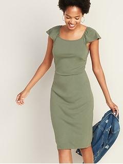 7b2824a983b91 Ruffle-Trim Ponte-Knit Sheath Dress for Women