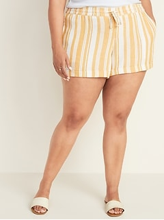 8cde706bf5 Mid-Rise Tie-Waist Plus-Size Striped Linen-Blend Shorts - 5