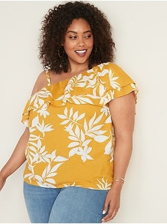 69af73a65e95d0 Plus-Size Ruffle-Trim One-Shoulder Top