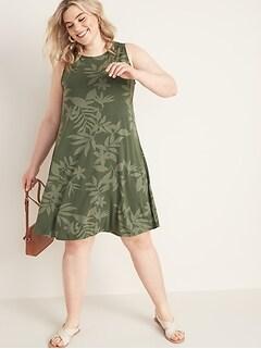 32f9e403f8a Sleeveless Plus-Size Jersey Swing Dress