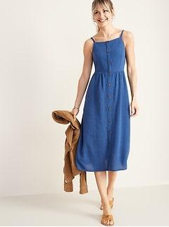 e6fc8aa8 Waist-Defined Square-Neck Button-Front Midi Dress for Women
