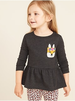293566e0c13cf French Terry Graphic Peplum Tunic for Toddler Girls