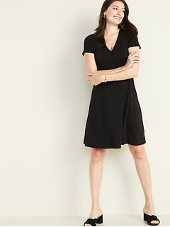 83f7d9849a Waist-Defined Faux-Wrap Jersey Dress for Women