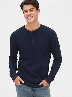 Essentials Mens Regular-fit Long-Sleeve Waffle Shirt
