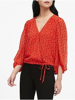 Puff-Sleeve Wrap Top