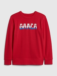 갭 GAP Kids Gamer Graphic Sweatshirt,modern red