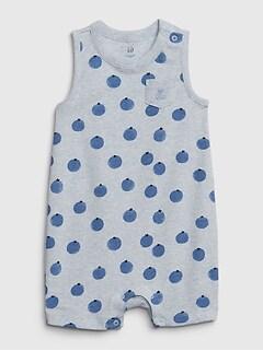 Baby GAP Girls NAVY Dotty Coral Trim Cotton Shortie Jumpsuit Romper 0-6m £14.95
