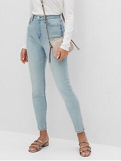 bananarepublic High-Rise Soft Touch Light Wash Destructed Skinny Jean
