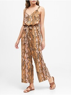 Snake Print Utility Jumpsuit