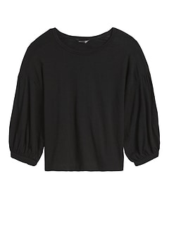 Balloon-Sleeve Cropped Top